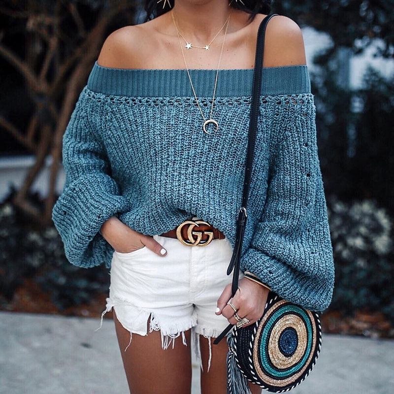 Female Ld4151 Solid Knitted Pullover Hot 2018 Women Lantern Blue Costume Sexy Sleeve Autumn Sweaters Neck Computer Sale bl Slash awqqvT