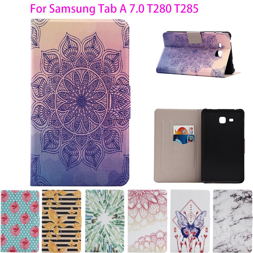 2016 For Samsung Tab a6 7 Case Printed PU Leather Cover For Samsung Galaxy Tab A 7.0 T280 T285 Cases Tablet Stand Capa Funda luxury flip stand case for samsung galaxy tab 3 10 1 p5200 p5210 p5220 tablet 10 1 inch pu leather protective cover for tab3