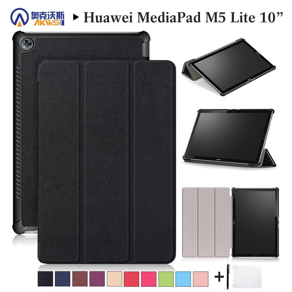 Los caminantes para Huawei M5 Lite10 pulgadas Tablet para MediaPad M5 Lite 10,1 BAH2-L09/W19 DL-AL09 cubierta inteligente caso negro + regalo
