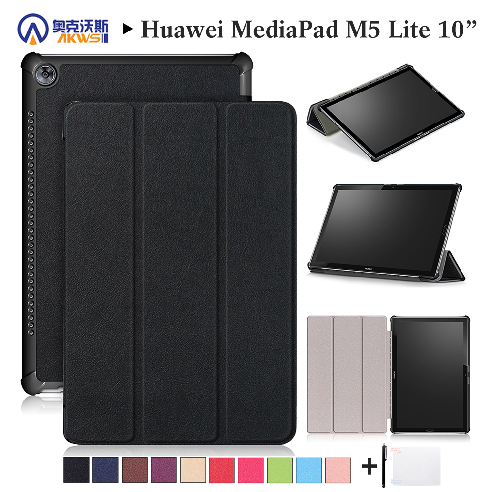 Walkers Case for New Huawei M5 Lite10 Inch Tablet for MediaPad M5 Lite 10.1 BAH2-L09/W19 DL-AL09 Smart Cover Case Black+gift light weight painting case for huawei mediapad m5 lite10 case for huawei m5 lite 10 bah2 l09 w19 dl a tablet 10 1 cover