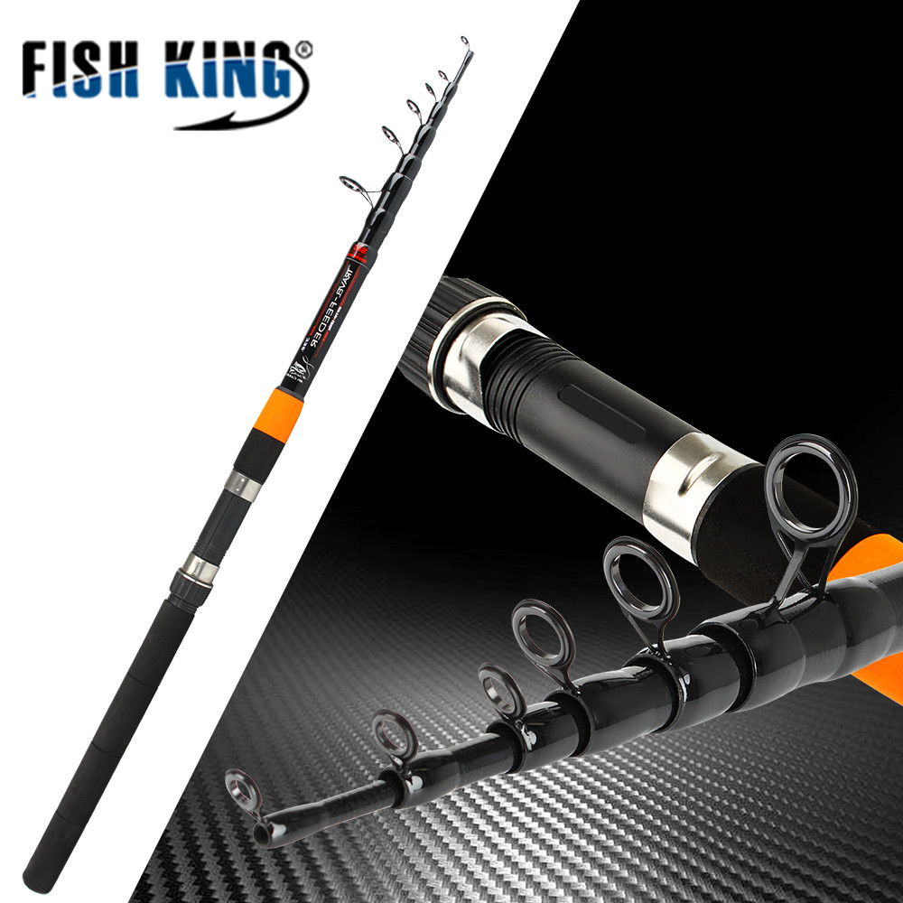 Pescado rey telescópica varilla alimentador 3,0 M-3,9 m 2 Sección C.W 120g Extra pesado pesca alimentador varillas fibra de carbono 60% varilla alimentador