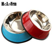 Stainless Steel Dog Bowls Red Blue Color Pet Puppy Cats Food Drink Water Dish Feeder Goods For Small Medium