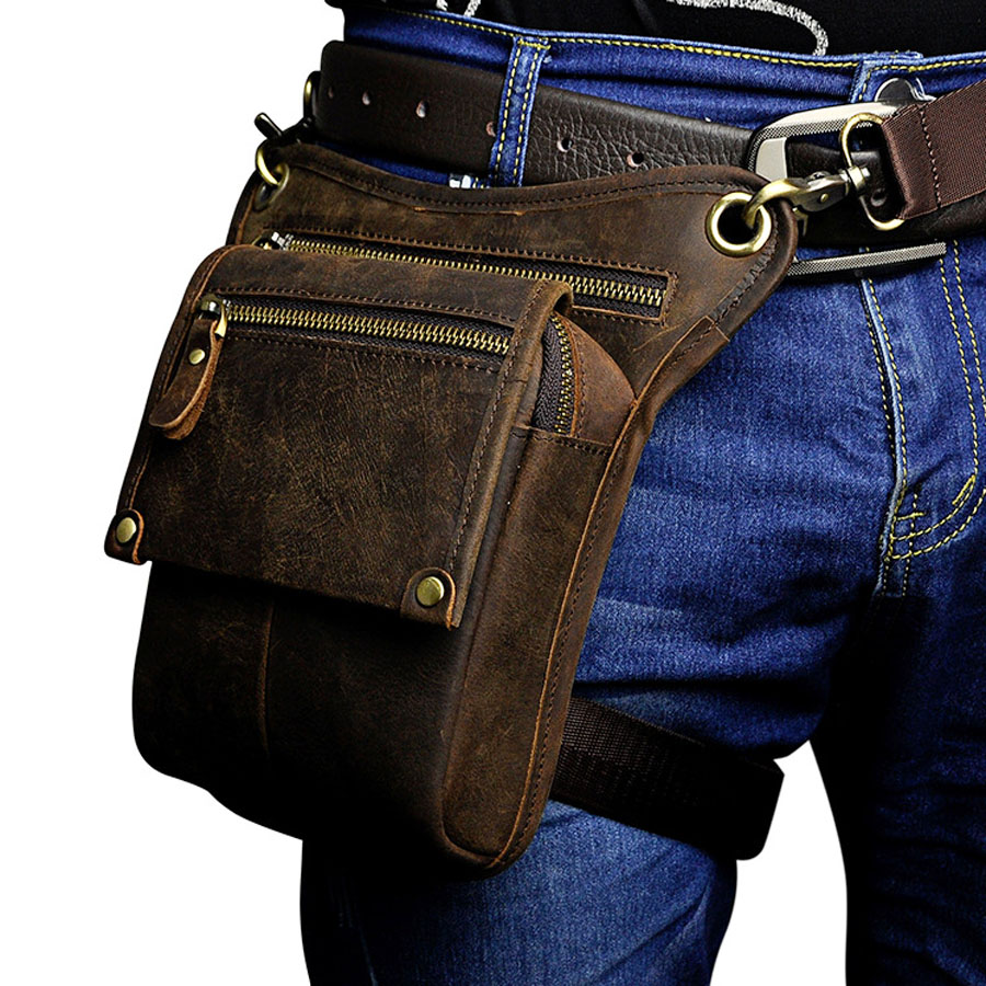 Men Vintage Cowhide Genuine Leather Drop Leg Bag Fanny Waist Pack Belt Hip Bum Travel Motorcycle Riding Messenger Shoulder Bag цена