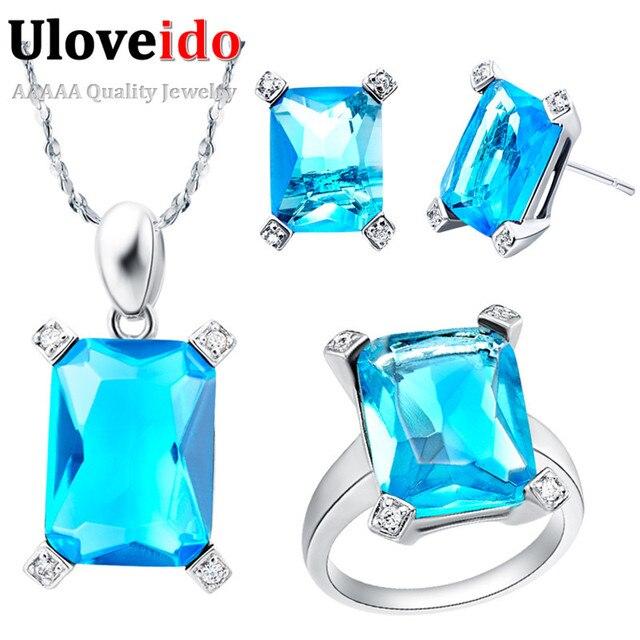 Earrings for Women bijuterias conjuntos joias conjunto acessorios casamento festa de casamento Blue Square Silver Plated T150