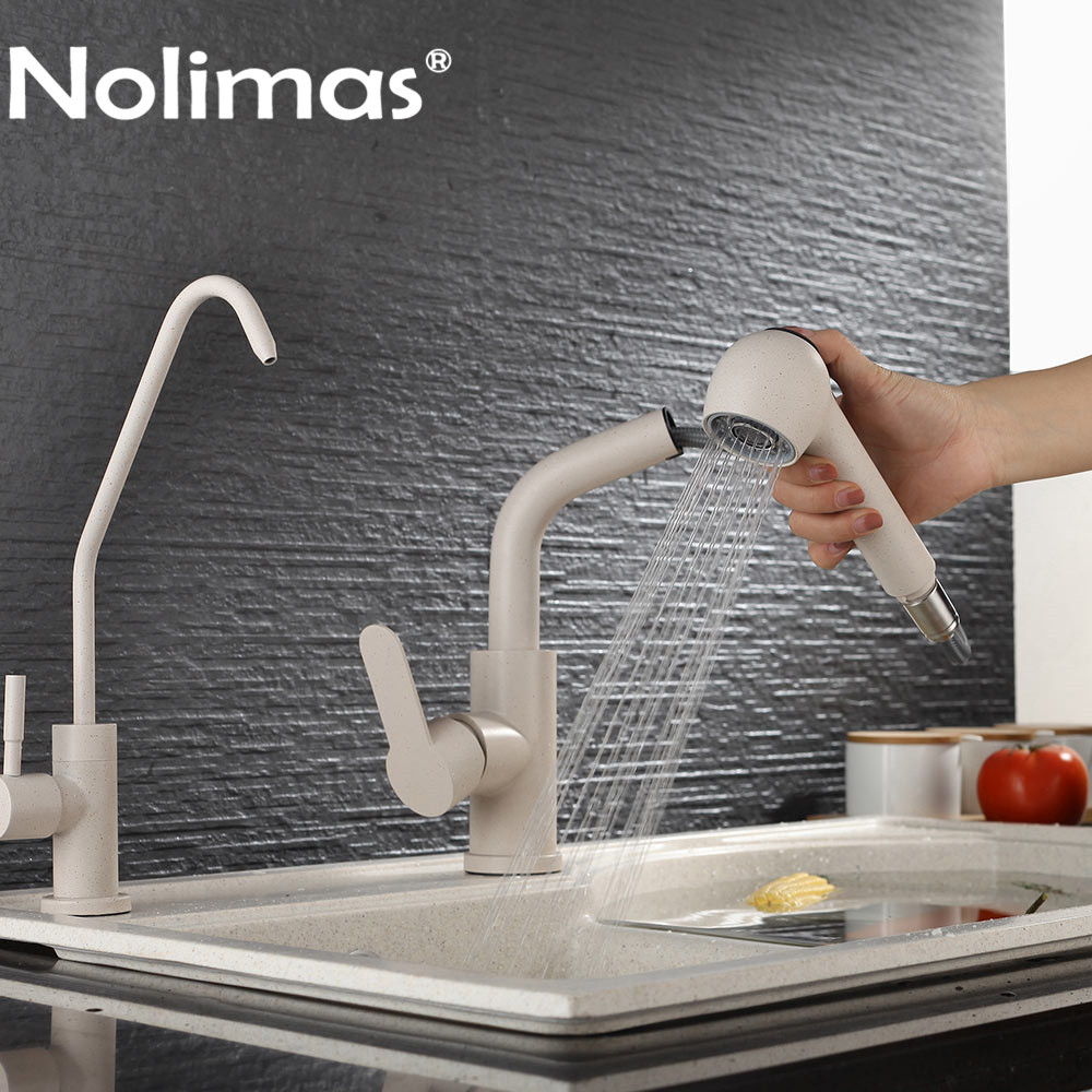Kitchen Faucet SUS 304 stainless steel Pull Out Faucets Beige paint Spool Mixer Water Tap Hot And Cold Double Control цена