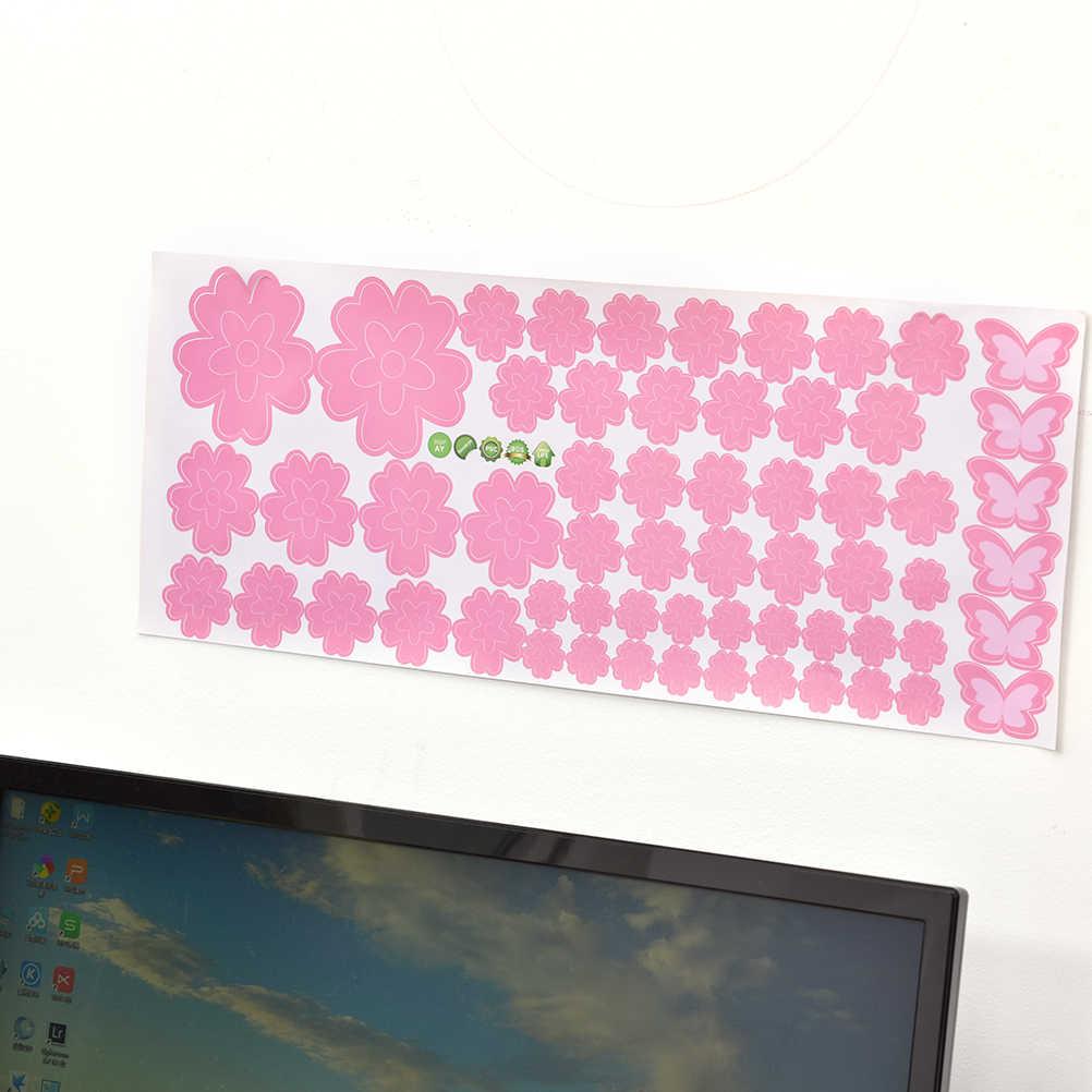 لتقوم بها بنفسك 108 زهور و 6 فراشة للإزالة الجدار ملصق مائي المنزل غرفة نوم المعيشة/غرفة الزفاف ديكور