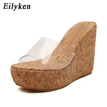 07782a8e1 Новые летние прозрачные босоножки на танкетке женская модная летняя обувь  на высоком каблуке размер 34-40
