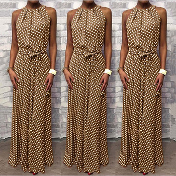 Women Summer Dress 2020 Dot Print Long Maxi Dress Sundress Sleeveless Halter Neck Coffee Casual Dresses Lady Beach Party Dress image