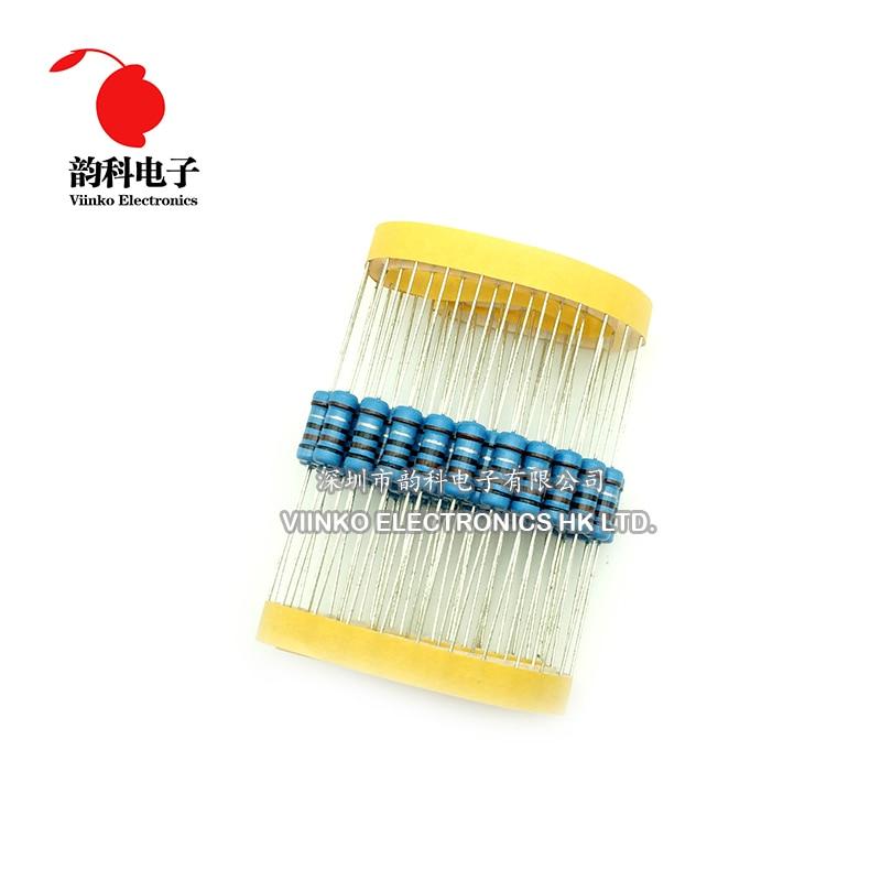 50PCS 1W Metal Film Resistor ±1/% 1 Watt 10R 100R 220R 1K Ohm 4.7K to 1M Ohm