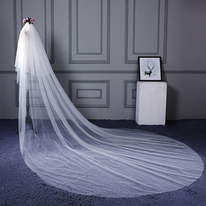 Image 3 - High Quality 3 m long 2 Tiers Cover Face Cathedral Wedding Veil with Comb New Bridal Veil