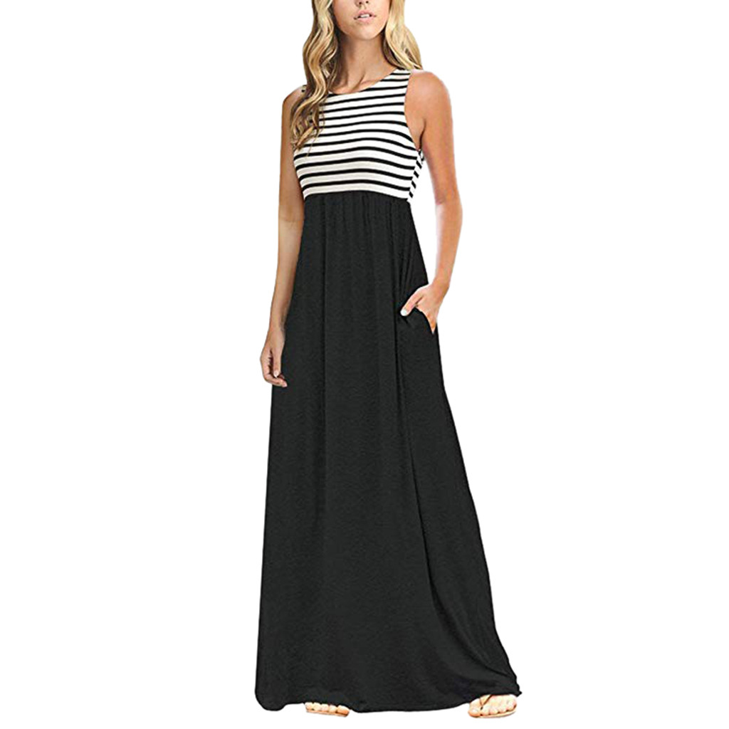 Summer Maxi Dress 2019 Women Elegant Striped Sleeveless Party Long Dress Woman Party Night Dresses Summer Clothes For Women Dresses  - AliExpress