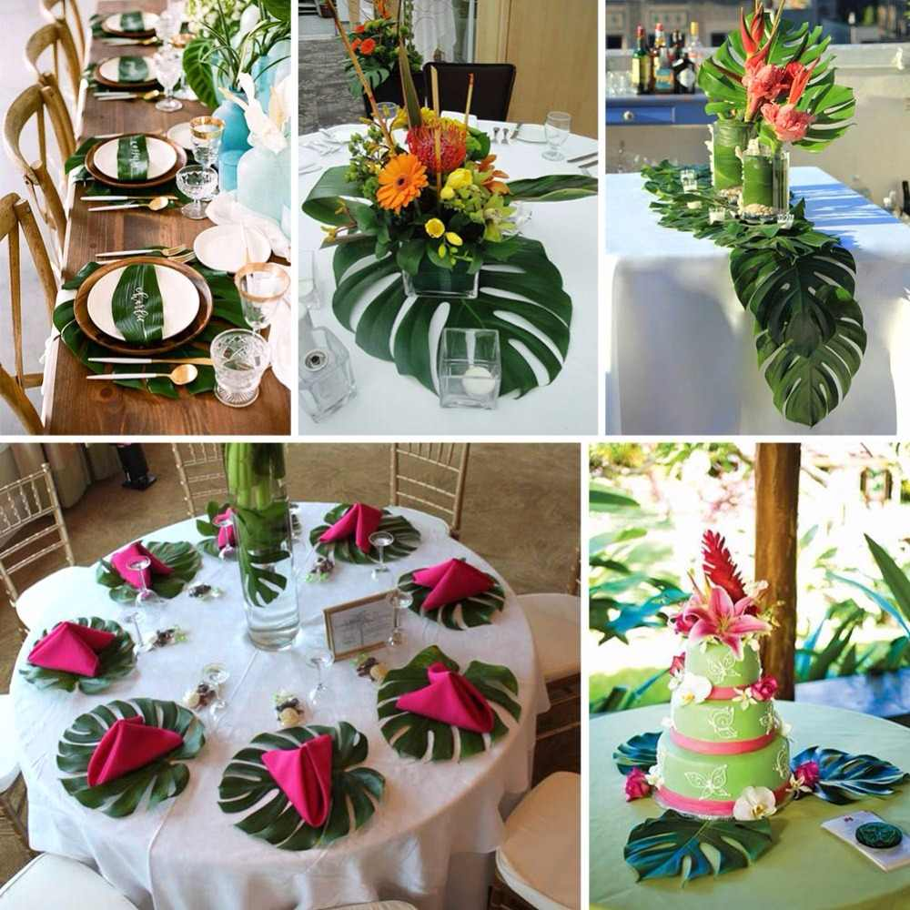 Ourwarm 12pcs Hawaiian Wedding Backdrops Decoration 35x29cm Artificial Tropical Palm Leaves Party Photo Booth Backdrop