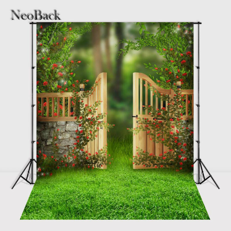 New Spring Fairy Tale Green Banister Garden View New Born baby children backdrop computer printed vinyl photo backgrounds A1051 happy new year light winter fireworks stars photo backdrop vinyl cloth computer printed children backgrounds