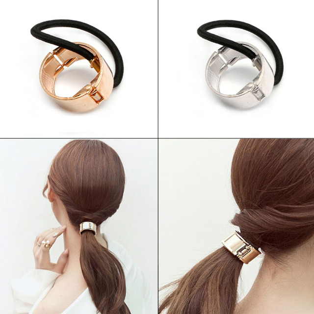 Practical Women Hair Cuff Wrap Ponytail Metal Holder Ring Tie Elastic Hair  Bands 7926b0c80a5