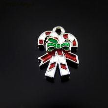 10PCS Silver Color+Red Green Enamel Small Gift Bow Charm Christmas Deco Handmade Crafts Necklace Pendant Jewelry Accessory(China)