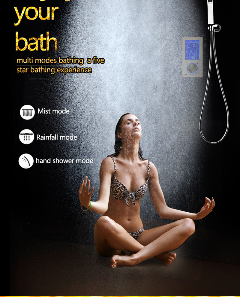 Bathroom 3 Ways Shower Sets Intelligent LCD Digital Concealed 20 SPA Mist Thermostatic LED Smart Shower Set Touch Panel Mixer (4)