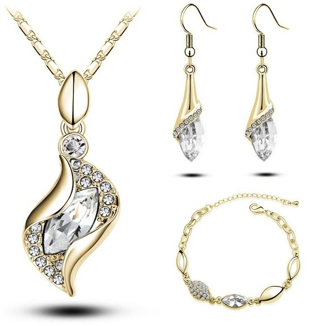Gifts Sales MODA Elegant Luxury Design New Fashion  Gold Filled Colorful Austrian Crystal Drop Jewelry Sets Women 3