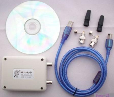 3 Pcs/Lot MINI custom languages 8k sample rate dual trace PC oscilloscope Fosc-21 USB computers