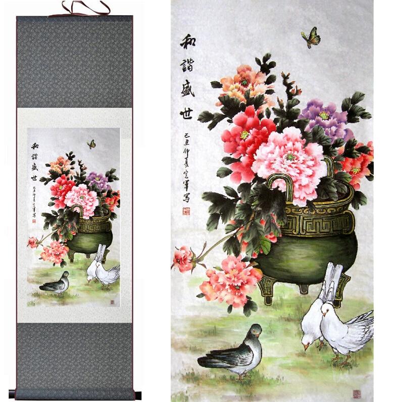 Ptáci a květiny Malba Domácí kancelář Dekorace Čínský svitek malování ptáků malování ptáků a malování květin