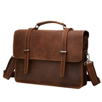 Fashion Men Vintage Briefcase Shoulder Bag Genuine Leather Laptop Bag Tote Solid Pure Black / Brown / Coffee Classic Style