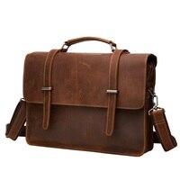 Moda Uomo Vintage Valigetta Borsa A Tracolla Laptop Bag In Vera Pelle Tote Solido Puro Nero/Marrone/Caffè in Stile Classico