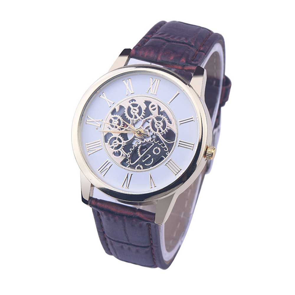 Watches Men Rreloj Hombre Golden Hollow Watch, Luxury Casual Steel Business Imitate Mechanical Watch Male Clock Relogio #2
