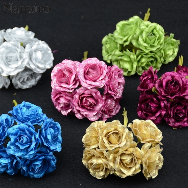 6pcs lot sprayed gold bluelover mini silk artificial rose flowers
