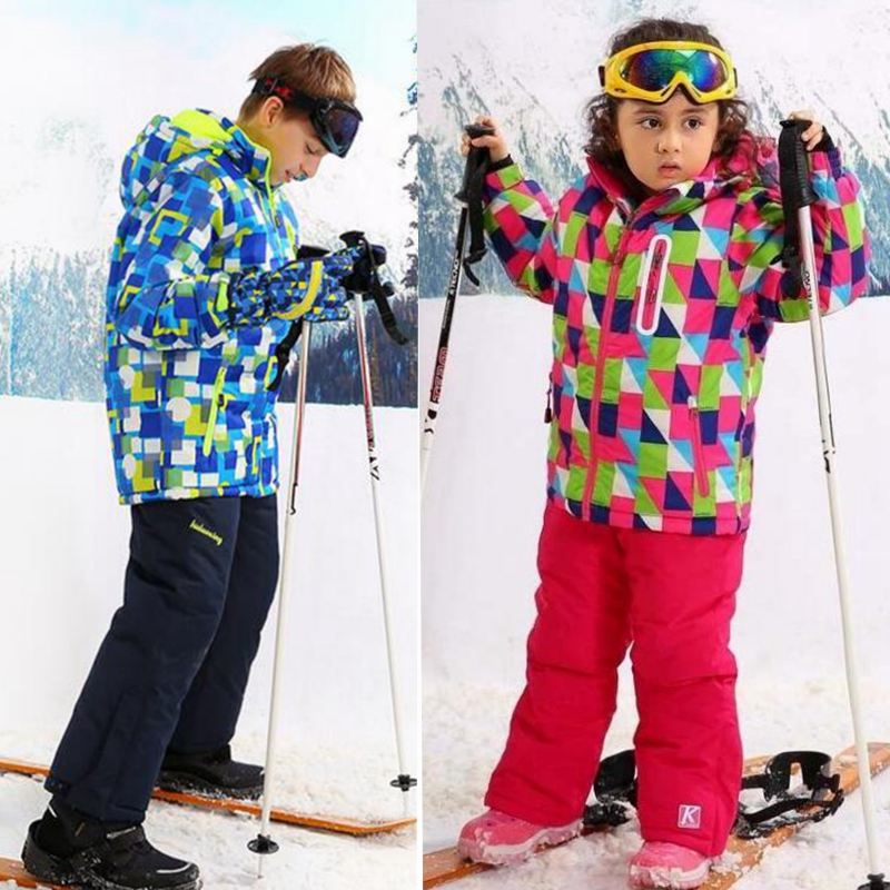 -30 Degree Ski Suit,Kids Windproof Waterproof Coat,Kids Boy Girl Outerwear,Children Hoodies,Winter Warm Clothing Set,For 4-14T