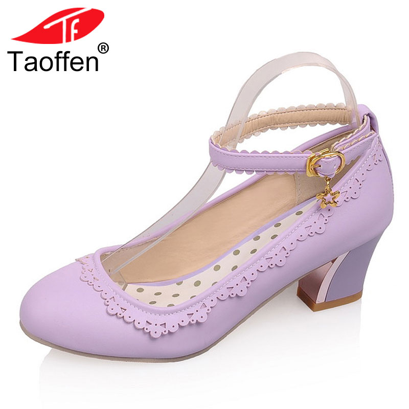TAOFFEN Size 34 43 Women High Heel Shoes Women Ankle Strap Ruffle Round Toe Thick Heel
