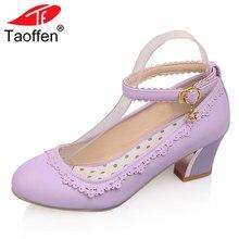 TAOFFEN/размеры 34-43, женские туфли на высоком каблуке, женские туфли-лодочки на толстом каблуке с круглым носком и ремешком на щиколотке вечерние, женские вечерние Клубные туфли, женская обувь