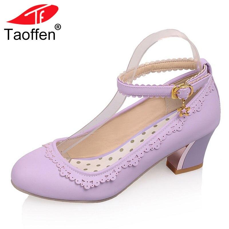 TAOFFEN tamaño 34-43 mujeres zapatos de tacón alto mujeres correa de  tobillo volante punta 14366e64608e