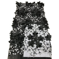 Black African Lace Fabric 2018 High Quality 3D Lace Flower African French Tulle Lace Applique Beaded