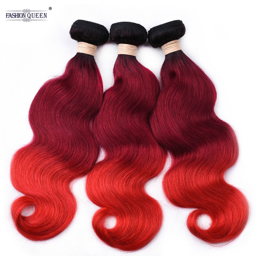 Pre Gezupft Ombre Brasilianische Nicht Remy Menschenhaar-webart Bundles # 1b/lila/rot Körper Welle 3 Bundles Haarverlängerung Und Perücken