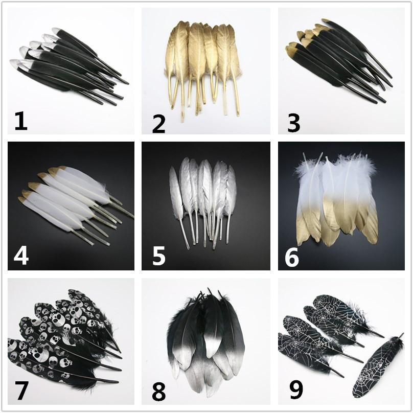 Beautiful manual Paste gold goose feathers 10PCS DIY clothing decoration home decoration wedding feathers