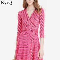 Ky Q 2017 Luxury Spring And Summer Women Chiffon Pink Little Daisy V Collar 3 4