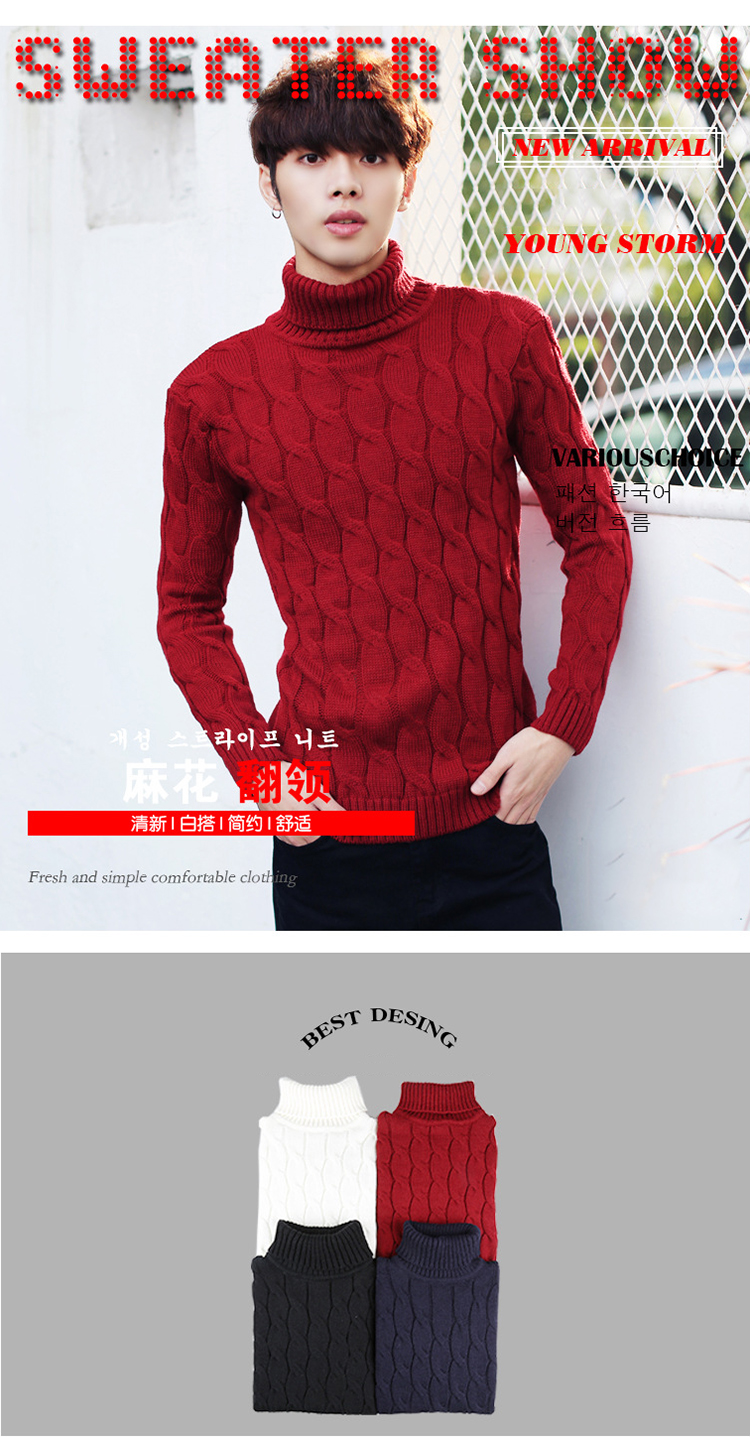 Mens Round Collar Embroidery Long Sleeve Sweaters Youth Casual Pullover Coat New