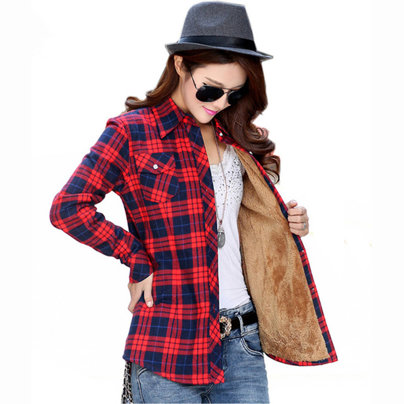 20 Colour Women shirt Thickening plaid blouses vintage long sleeve Ladies shirts Plus Size casual top Blusas Femininas clothing