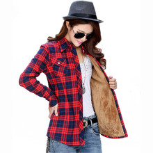 Women Tops Blusa Plus Size Autumn Winter Warm Cotton Long-sleeve Thick Velvet Plaid Shirt Blouses Camisa Femininas Flannel Shirt