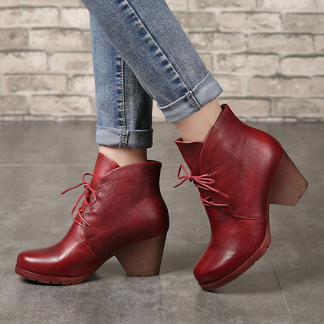 Women's Leather Ankle Booties