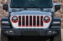 Lapetus Front Face Grille Grill & Head Lights Lamp Ring Decoration Frame Cover Trim Fit For Jeep Wrangler JL 2018 - 2020