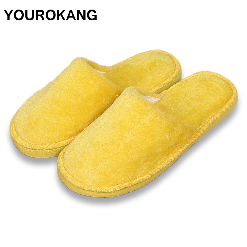 YOUROKANG Winter Women Men Home Slippers Warm Furry Plush Shoes Indoor Bedroom Lightweight Couple Cotton Slipper Solid Soft цены онлайн