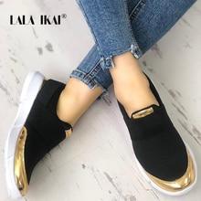 Zapatos de malla transpirables de primavera de las mujeres de las zapatillas de deporte de LALA IKAI zapatos de vulcanizado Casual de deslizamiento negro para las mujeres zapatos de Tenis suaves 014A3831-4