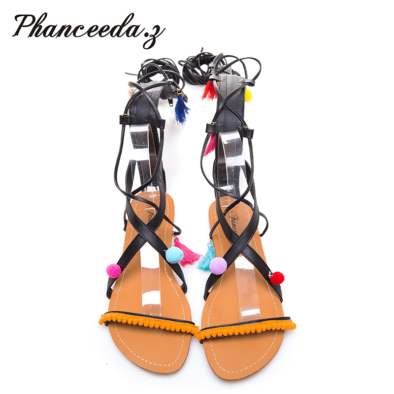 New 2017 Gladiator Sandals Woman knee high sandalias Tassels Women Sandal Shoes Woman sexy summer Styles ankle boots Hair ball sandals women genuine leather lace up ankle wrap 2017 summer shoes woman gladiator sandal flat wedding shoes sandalias mujer