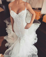 Amazing Tulle Wedding Dresses Mermaid Sexy Spaghetti Straps Sweetheart Neckline Bride Dress
