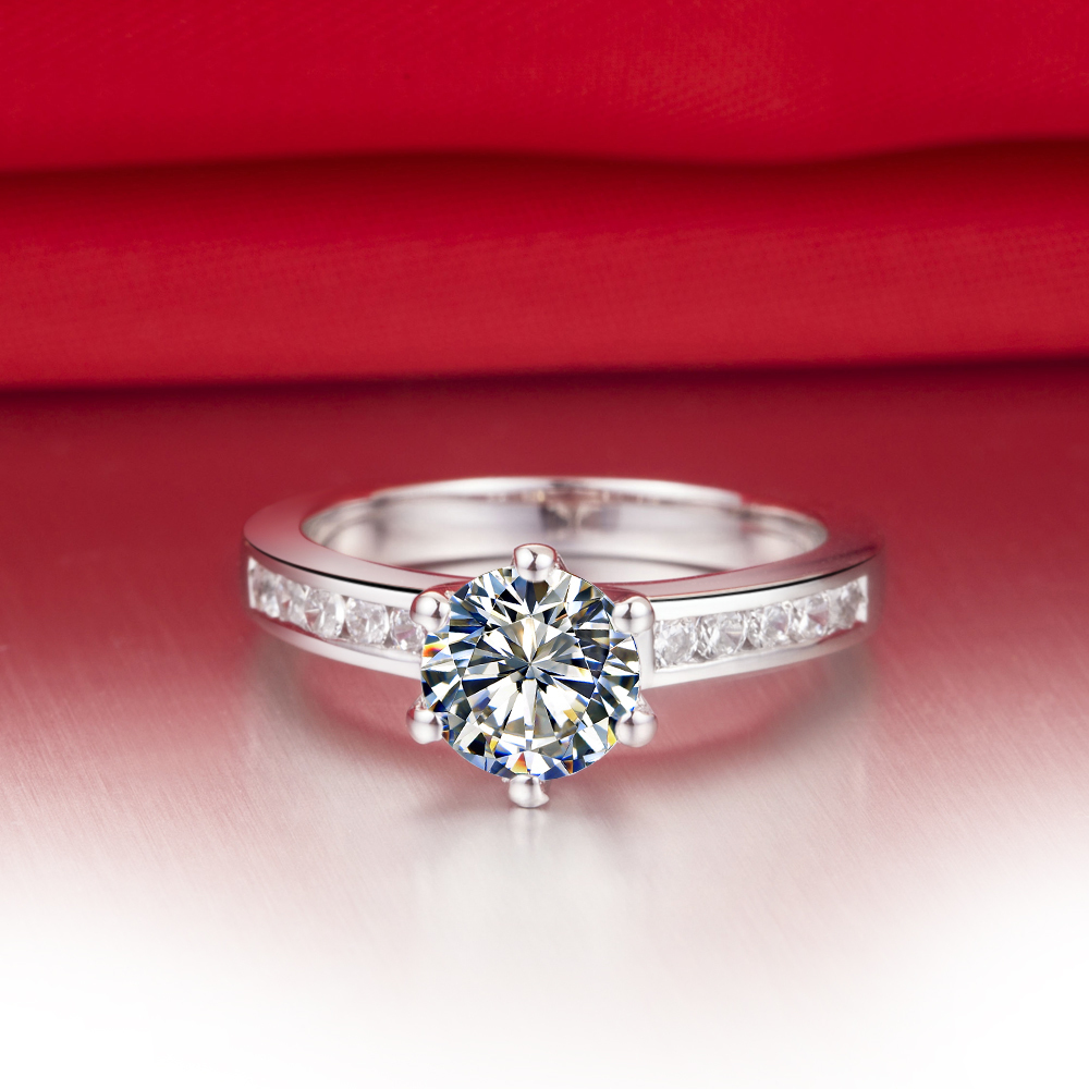 THREEMAN 1CT 585 Твердые золотые свадебные украшения 1CT взаимодействие синтетических алмазов Кольцо женское белое золото свадебные украшения