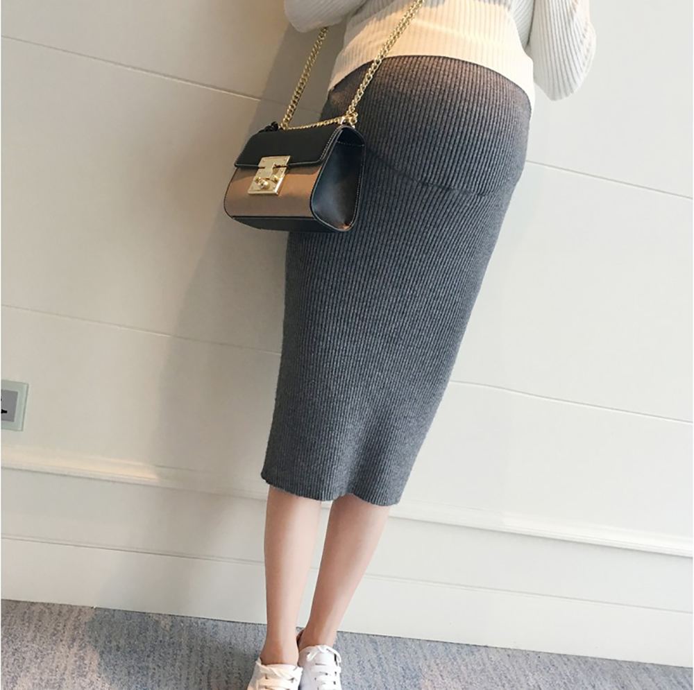 Fashion Korean Maternity Belly Skirts Autumn Pregnancy Clothes Woolen Knitted Stretch A Line Skirt Bottom For Pregnant Women
