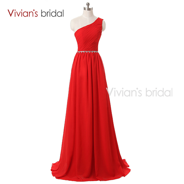 Vivian s Bridal 2016 Red Chiffon Long A Line Evening Dress One Shoulder  Formal Evening Gown C01 38b25449c6c3