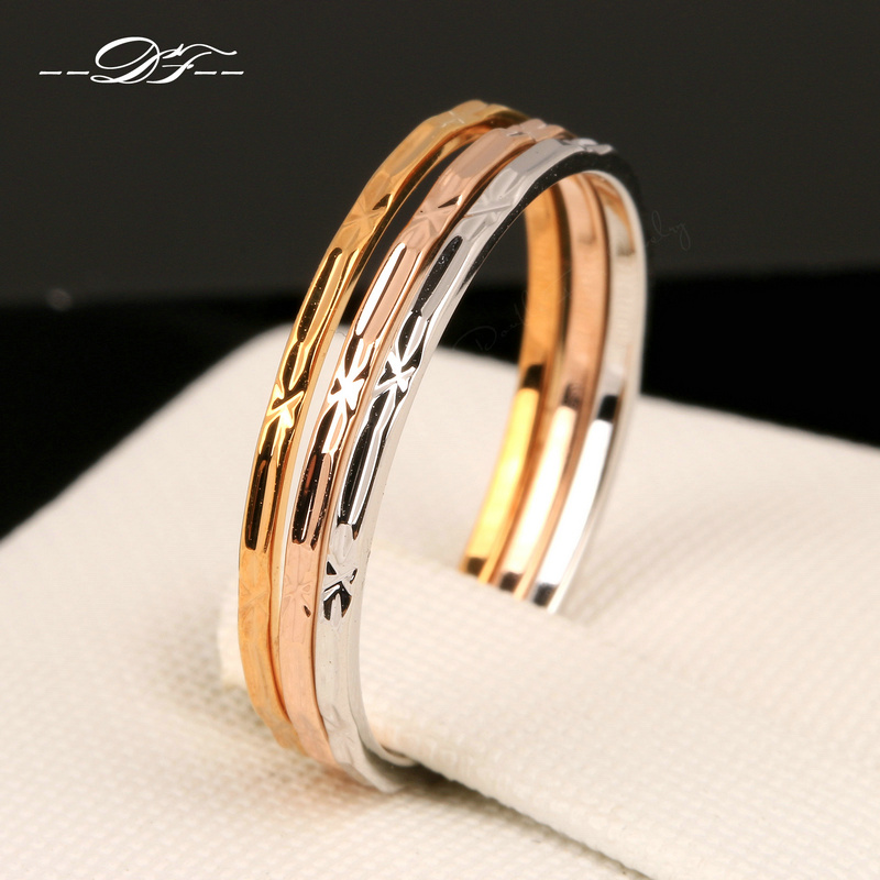Vintage 3 Color Rounds Elegant Finger Rings Rose Gold Color Fashion Brand Punk Jewellery/Jewelry For Women Wholesale DFR029