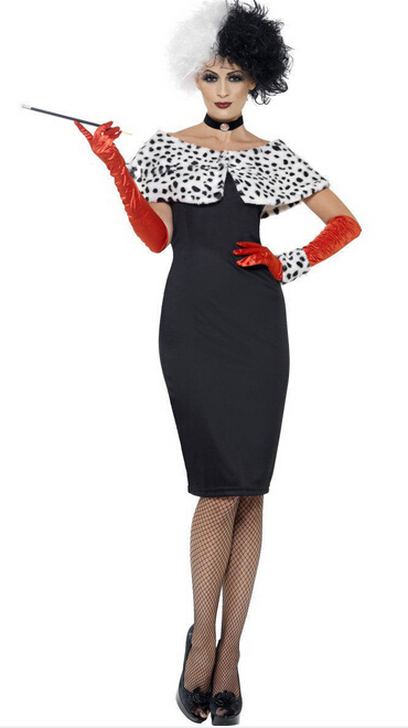 free shipping Evil Madame Cruella De Ville Costume Ladies Womens Fancy Dress Outfit UK 8 M L XL 2XL