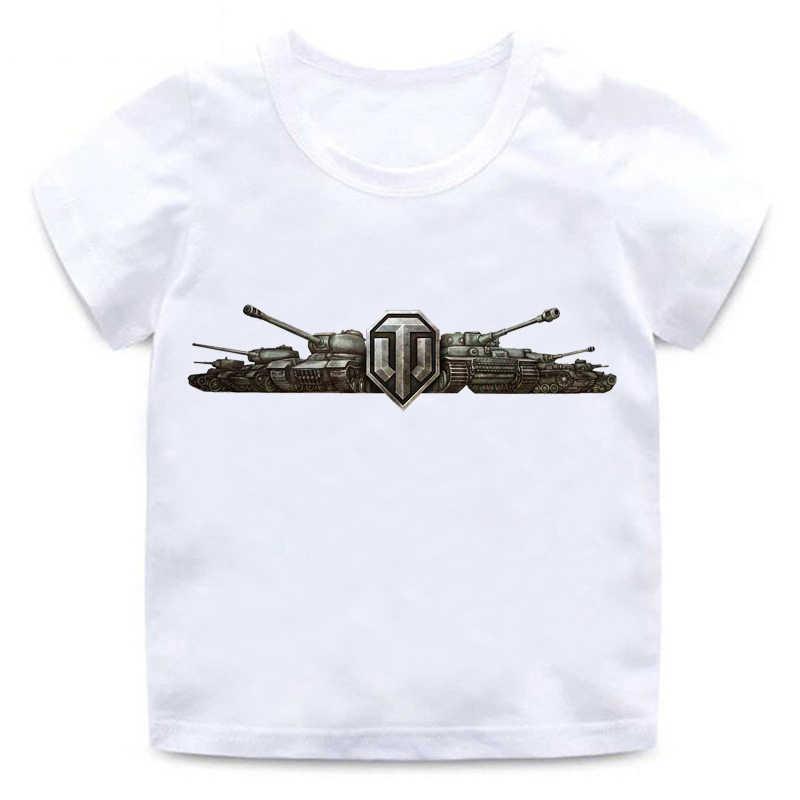 חדש בנים ובנות הדפסת צבא עולם טנק קצר שרוול חולצה אופנה חולצות עגול צוואר כותנה נוחות אוניברסלי חולצה ילדים